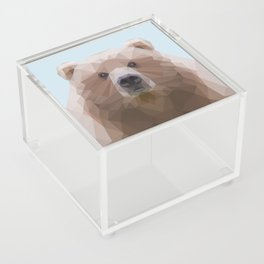 Low poly bear on blue/grey background Acrylic Box