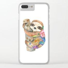 cute sloth Clear iPhone Case