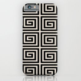 Greek Key Pattern 123 Black and Linen White iPhone Case