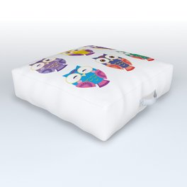 bright colorful owls on white background Outdoor Floor Cushion
