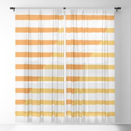 Beach Stripes Orange Yellow Sheer Curtain
