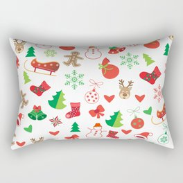 Happy New Year and Christmas Symbols Decoration Rectangular Pillow