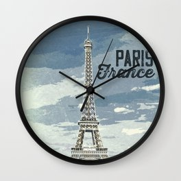 Paris, France / Vintage style poster Wall Clock