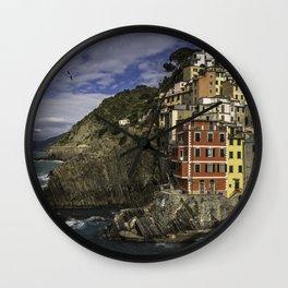 Riomaggiore, Cinque Terre, Italy (view from the seaside) Wall Clock