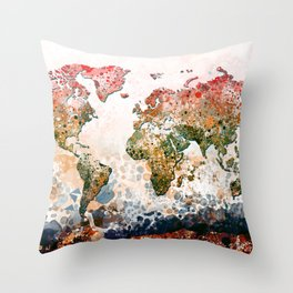 world map colors splats Throw Pillow