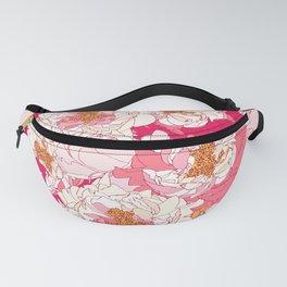 Pink flowers of peonies Fanny Pack