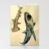 sharks Stationery Cards featuring Sharks by Jen Hallbrown