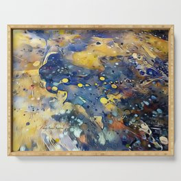 When Planets Align watercolor abstract by CheyAnne Sexton Serving Tray