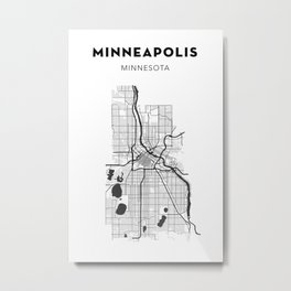 MINNEAPOLIS MAP PRINT Metal Print