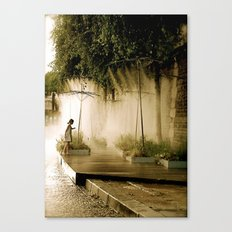 Little girl at Paris Plages Canvas Print
