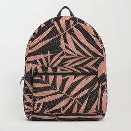 Elegant rose gold Tropical leaves Backpack