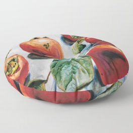 Watercolor Persimmons With Leaves Floor Pillow