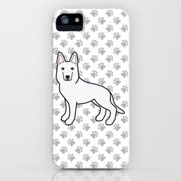 White Shepherd / White German Shepherd Dog Cartoon Illustration iPhone Case