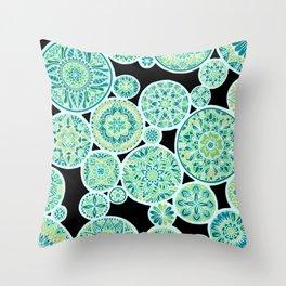 Many Mandalas Inverted Sea Tones Throw Pillow