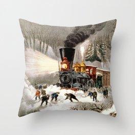 Snow Bound: Vintage Currier & Ives Railroad Scene Throw Pillow