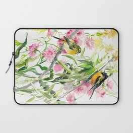 Baltimore Oriole and Garden Flowers Laptop Sleeve