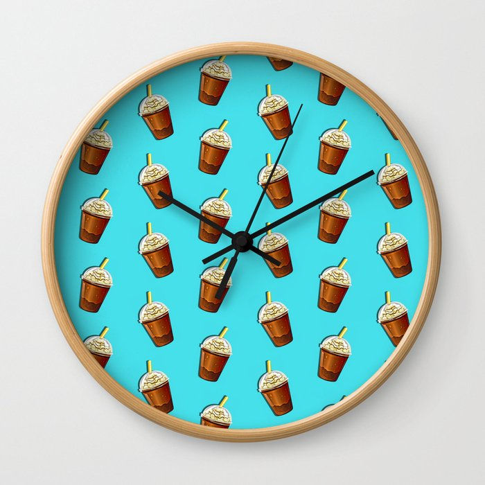 Iced Coffee To Go Pattern Wall Clock