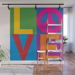 Love Peace Color Blocked Wall Mural