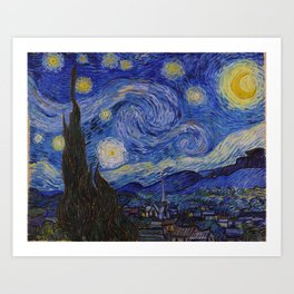 The Starry Night by Vincent van Gogh (1889) Art Print