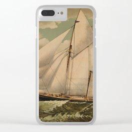 Vintage Schooner Yacht Illustration (1882) Clear iPhone Case