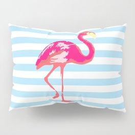 Flamingo poster, t-shirt, tropical summer, pink in blue stripes Pillow Sham