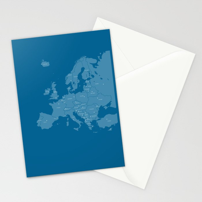 Europe map - blue Stationery Cards