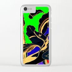 Blue Green Orange Black and Gold, Stand Up Red Clear iPhone Case