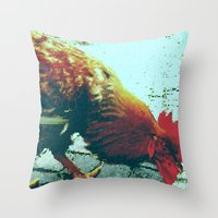 cock Throw Pillows featuring cock by habish