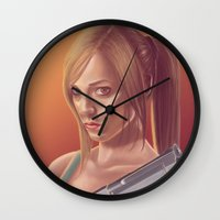 lara croft Wall Clocks featuring Lara Croft by S. H.