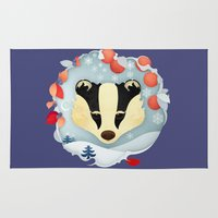 badger Area & Throw Rugs featuring Snowy Badger by Compassion Collective