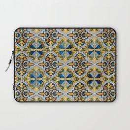 Seamless Floral Pattern Ornamental Tile Design : 4 -blue, Laptop Sleeve
