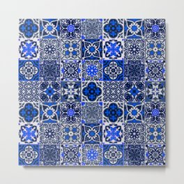 -A34- Blue Traditional Floral Moroccan Tiles. Metal Print