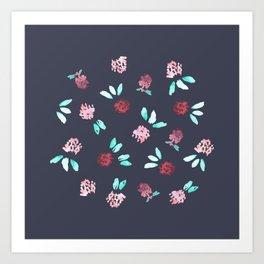 Clover Flowers on Grey Art Print