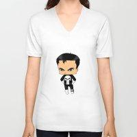 punisher V-neck T-shirts featuring Chibi Punisher by artwaste