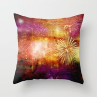 fireworks Throw Pillows featuring fireworks by haroulita