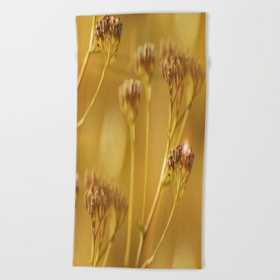 Autumn wildflowers in forest Beach Towel