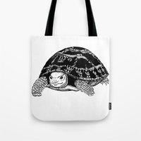 tortoise Tote Bags featuring Tortoise by Emma Barker