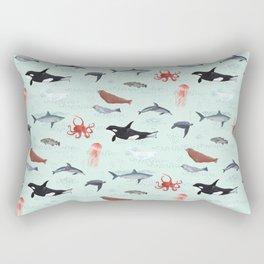 Ocean Life - Light Blue Rectangular Pillow