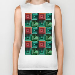 Color op art squares and striped lines with realistic effect Biker Tank