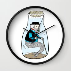 A Merman In Captivity Passing Gas In A Bottle  Wall Clock