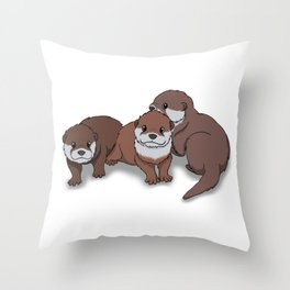 Romp of Baby Otters Throw Pillow
