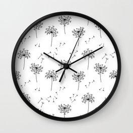 Dandelions in Black Wall Clock