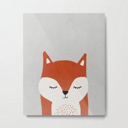 Fox - Mid century modern kids art - Children's art - Kids decor - Nursery room Metal Print