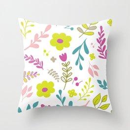 Colorfull flowers on white Throw Pillow