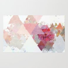 Pink white rosegold triangle pattern Rug