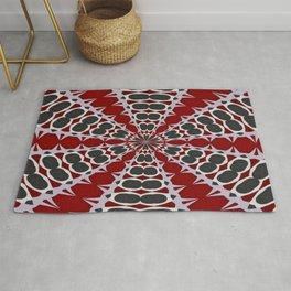 Red Black White Pattern Rug