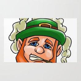 Leprechaun Face Smoking Pipe St Patricks Day Rug