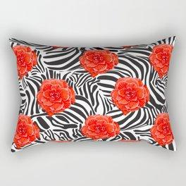 Zebra and Begonia Rectangular Pillow