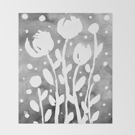 Whimsical watercolor flowers – black and white Throw Blanket