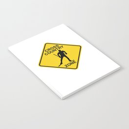 Cross Country Skiing Zone Road Sign Notebook